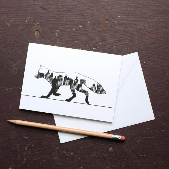 Urban Fox Greetings Card by flyingcheesetoastie