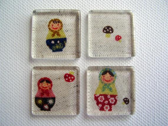 Set of Four Russian Doll Matryoshka Glass Tile Magnets Ready to Ship by katebuckleyart