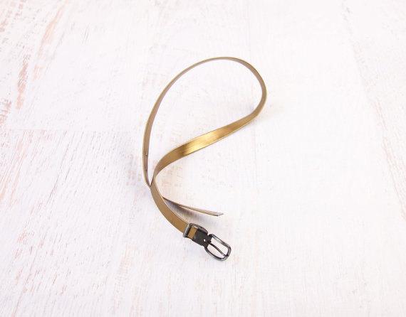 VINTAGE Brass Belt Skinny Metallic Vegan by WearitWellvintage
