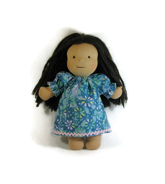 14, 15, 16, 17 inch Waldorf doll nightgown, blue floral doll nightgown, flannel doll sleepwear by Blissality