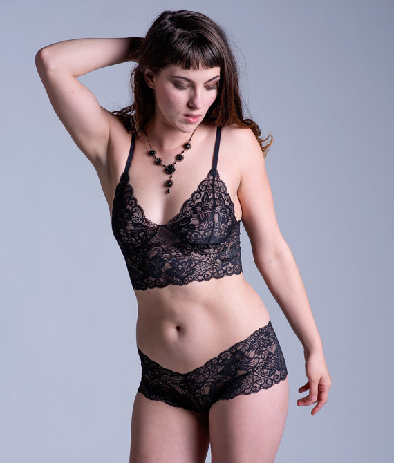 Black Lace Bra – See Through Sheer 'Sassafras' Style Bra – Women's Lingerie – Custom Fit Made To Order by OnTheInside