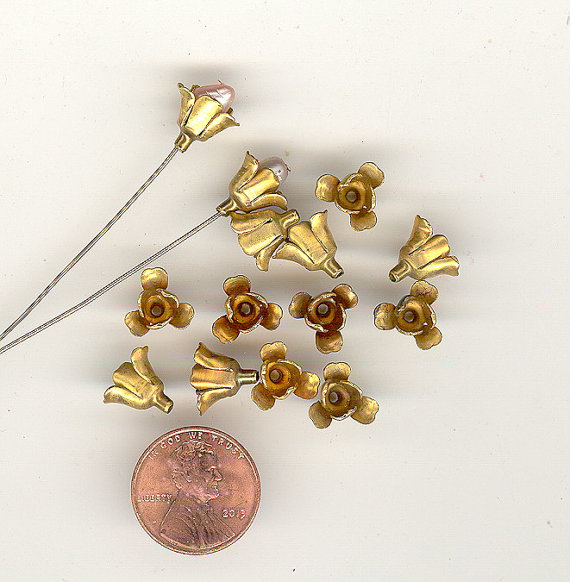 12 Vintage Brass Layered Double Flowers ~ ADORABLE 11x7mm NO.269B by BonkersForBeads