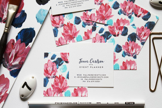 Calling Cards / Business Cards / Blogger Cards / Floral Pink and Blue Set (50) / Handpainted by pixelimpress