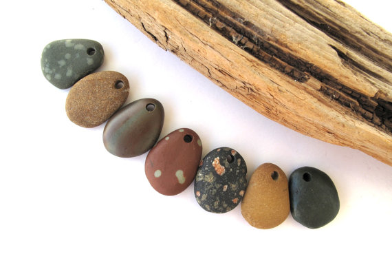 Beach Stone Beads Pebble Beads Mediterranean Natural Stone Beads Top Drilled Rock Beads Diy Jewelry COLORFUL MIX 20-22 mm by StoneAlone