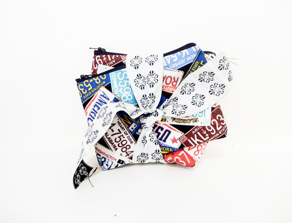 Pouch Set, Father's Day Gift, Coin Purse, Change Pouch, Zipper Pouch, Fabric Pouch, Gift for Him, Travel Pouches, Colorful License Plates by handjstarcreations