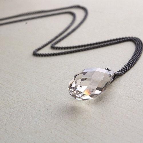 Swarovski Crystal Drop Long Layering Necklace. Layering Jewelry. Minimal Necklace. Layered Necklace. Simple Necklace. gunmetal necklace by ALJoyeria