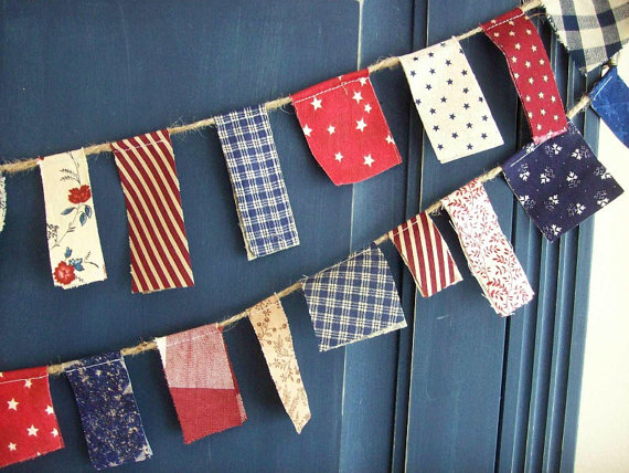 Patriotic Scrappy Banner / 4th of July Banner / Party Garland / Photo Prop in Vintage Red, White and Blue by aLittleFrayed