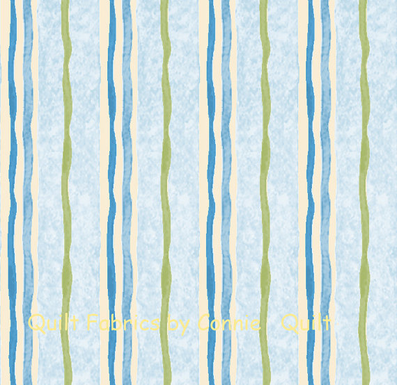 Beatrix Potter's Mrs. Tiggy-Winkle Fabric Collection – Blue and Avocado Stripes – 1 Yard by QuiltfabricsbyConnie