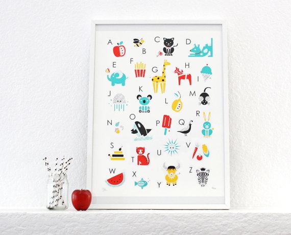 Alphabet Print, Poster, Screenprint, Nursery Art, Kids Room by sassandperil