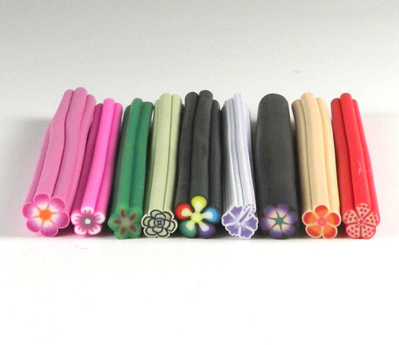 Unique Flower Bundle 9 Pack of Fimo Canes for Nail Art or Scrapbooking (UFB) by AdorBeautySupplies