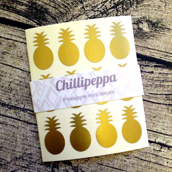 48 Gold pineapple stickers, Gold pineapple mini decals, Gold pineapple envelope seals, for packaging, gift wrapping or wedding invitations by ChilliPeppa