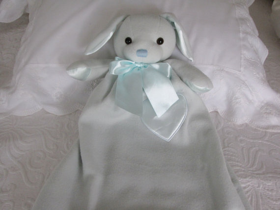 Baby Gift Personalized – or not-24 Inch Lovie Benny Bunny, Security Blanket, First Christmas Gift by mollyandmom
