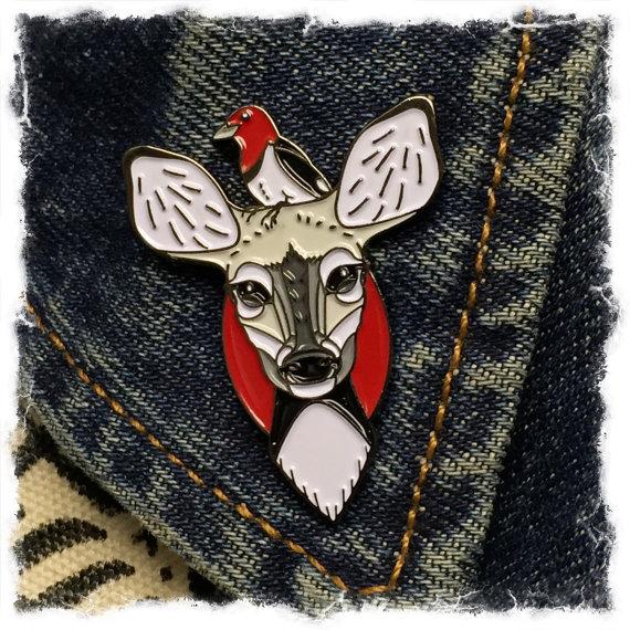 Deer and Woodpecker- enamel lapel pin- SINGLE ITEM by jammerdesignz