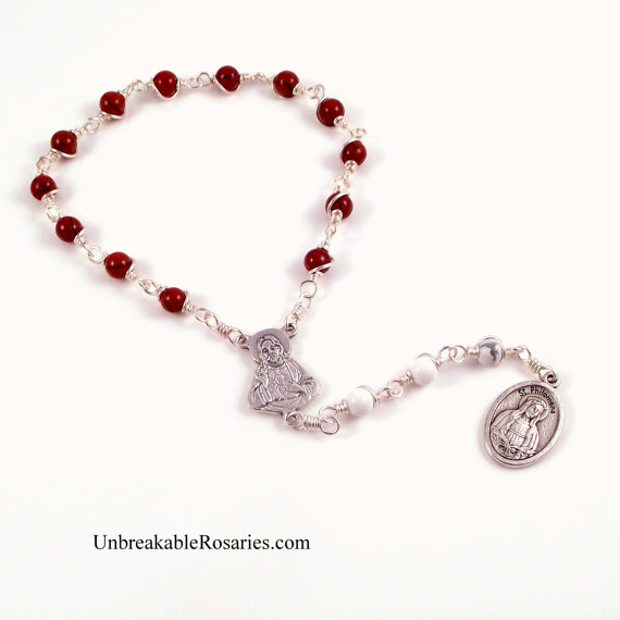 St Philomena Rosary Chaplet in Red Jasper and White Magnesite By Unbreakable Rosaries by unbreakablerosaries