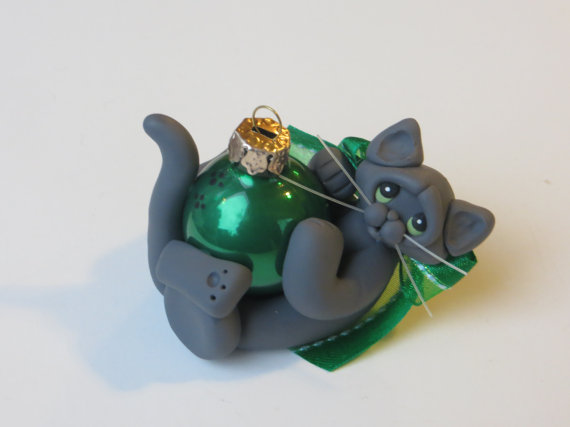 Russian Blue Gray Cat Christmas Ornament Polymer Clay by HeartOfClayGirl