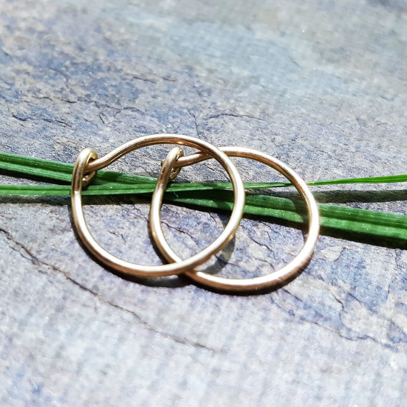 20g earrings– 14k solid gold, gold fill or niobium hoop earrings– primitive series– handmade by thebeadedlily by thebeadedlily