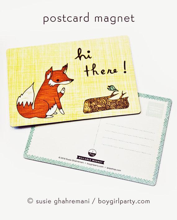 Fox Art Magnet – Fox Card Fox Postcard Magnet – Fox Artwork – Fox mail art postcard by boygirlparty