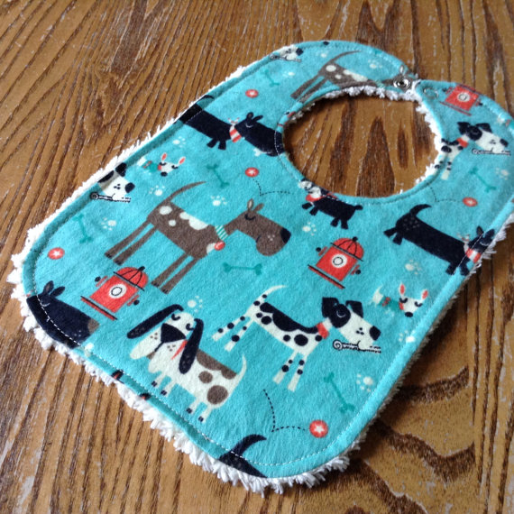 Chenille and Flannel Baby Bib, Dogs, snap close, ready to ship by StitchedByHand