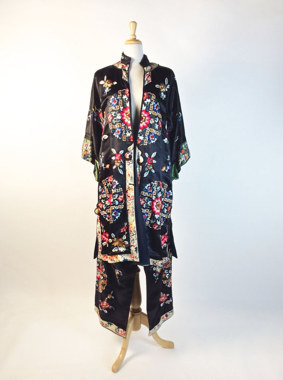 Vintage 1920's Pajamas, Chinese Lounge Suit, Black, Multicolor, Floral Design, Embroidered. Satin Silk, Made in China. Tang Suit, Rich! by iandrummondvintage
