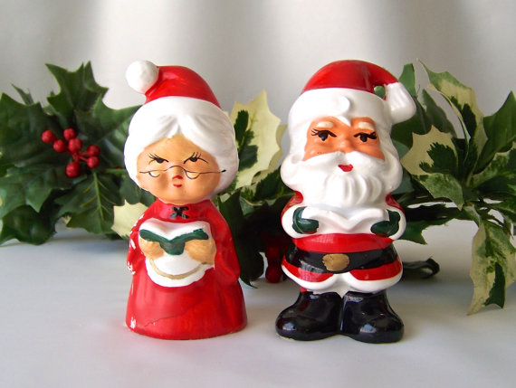 Vintage Santa Salt & Pepper Shakers Santa and Mrs Claus Lefton China Christmas Holiday Decor 1960s by CynthiasAttic