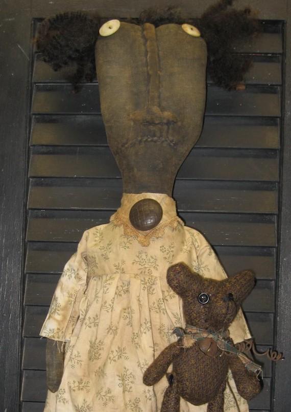 FuzZ WuzZ Bear and Fran Primitive 25 & quot; Black Doll IMMEDIATELY DOWNLOADABLE E-PATTERN by olderusticprims