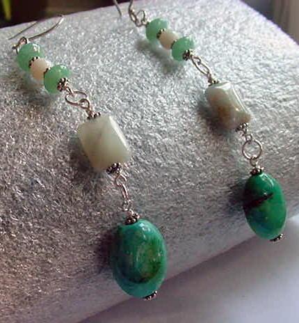 Wirewrapped stones of Aventurine, White Jade, Aquamarine, Turquoise linked into Long Dangling Earrings by bm1coastsbeadworks