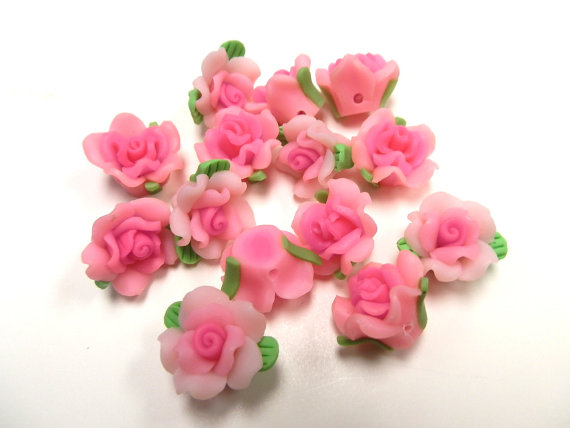 10 Fimo Polymer Pink Fuschia Flower Fimo Beads 17mm by andreascrafts