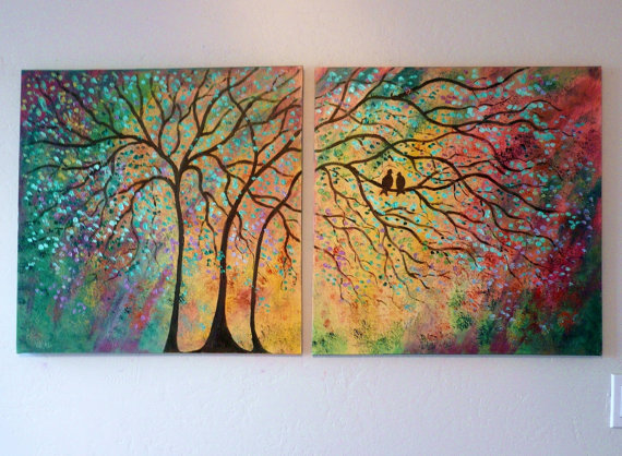 Large Commission Original oil Painting modern contemporary knife impasto impressionistic- Sunny Trees and lovebirds- by jeanvadalsmith