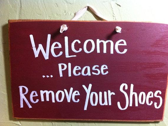 WELCOME Please remove your shoes sign wood porch foyer decor Trimble Crafts by trimblecrafts