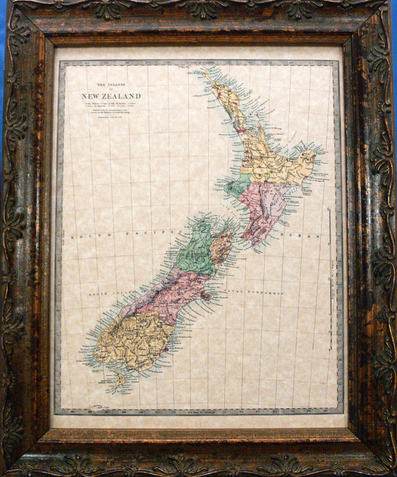 Island of New Zealand Map Print of an 1875 Map on Parchment Paper by apageintime