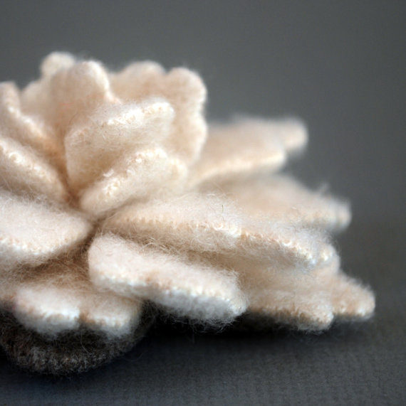 Oatmeal Cashmere Flower Pin by thejunebride