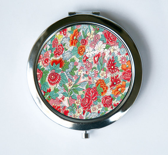 Floral Pattern # 3 Compact Mirror Pocket Mirror flowers orange blue pink by che655