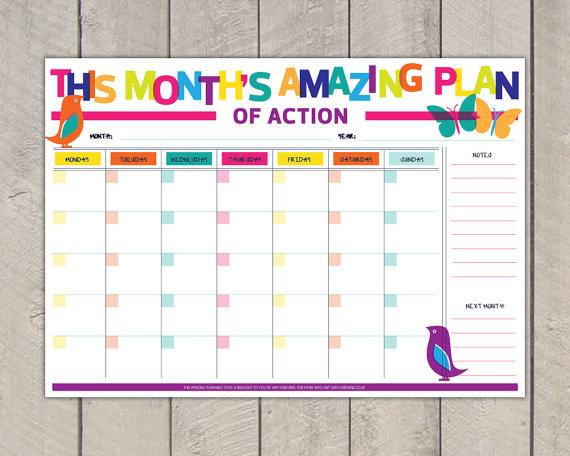 Monthly Planner Printable DIY Organiser Rainbow Bird Butterfly Print Sale by SamOsborneStore
