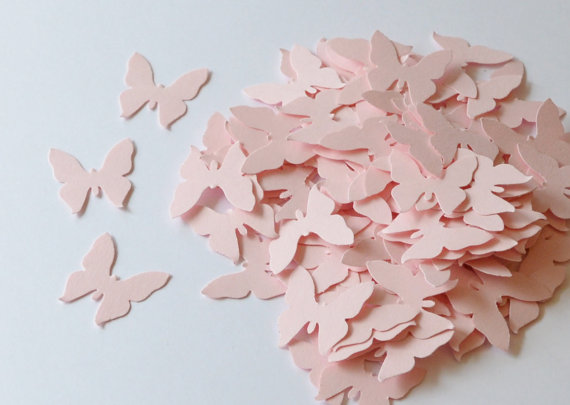 Pink Paper Die Cut Butterflies, Table Decoration, Wedding Confetti Butterfly, Die Cuts for Scrapbooking or Cardmaking, Pink Butterflies by CardsbyJeweleighaB