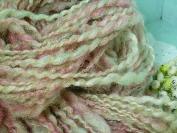 Sale! Art yarn wool bambo soft blend thick n thin Strawberry Fields 77 yds by jstforewe