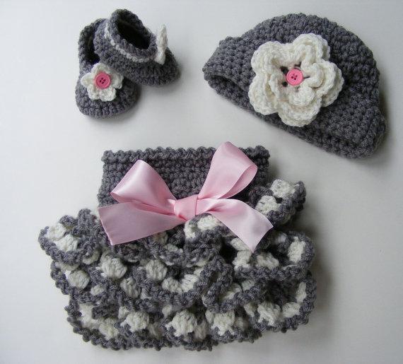 Crochet Pattern Ruffled Diaper Cover Pattern Shoe Pattern Bootie Pattern Crochet Hat Pattern Ebook 2 by PatternsByKrissy