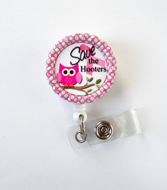 Save the Hooters Badge Holder – Breast Cancer Badge Reel – Nursing Badge – Teacher Badge Reel – Medical Badge – Breast Cancer Awareness by BadgeShack