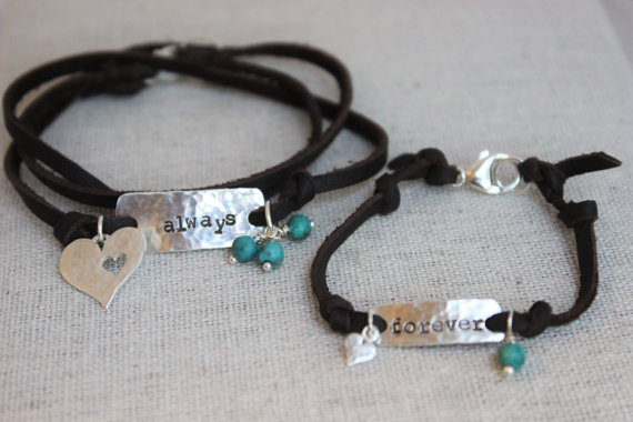 always and forever | mother and daughter bracelet set | stamped sterling silver | leather wrap bracelet | genuine turquoise bracelet by malisaydesigns