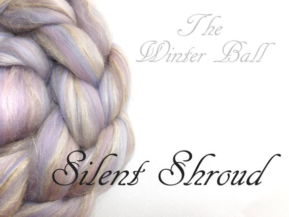 Blended tops – Roving – Merino – Tussah silk – Flax – 100g – 3.50z – Grey Lilac – SILENT SHROUD by nunoco