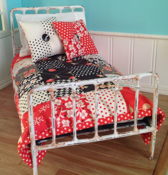 Quilt and Accent Pillows for Blythe – Farmhouse # 1 (red and black) by LaPetitePamplemousse