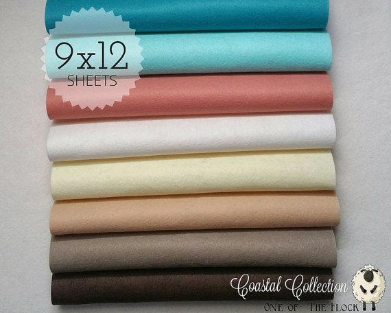 Coastal Felt Collection, Wool Blend Felt, Wool Felt Sheets, Wool Felt Fabric, Felt Fabric Bundles, Wool Felt Bundles, Felt Collections by oneoftheflock