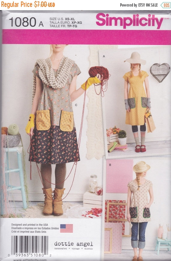 Simplicity Pattern 1080 Dottie Angel Cute & Easy Pullover Shift Dress and Tunic with Patch Pockets and Ties Misses' Sizes 6 – 24 by ChinenTwo