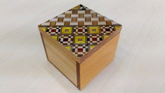 Small Box Kobako Japanese Wood Mosaic Yosegi by tomomaru