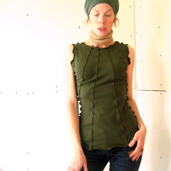 RIBBED TOP t-shirts, tank top, women shirt, women tank, olive tshirt, handmade shirt, treehouse28, stretchy shirt, green shirt, cotton shirt by treehouse28