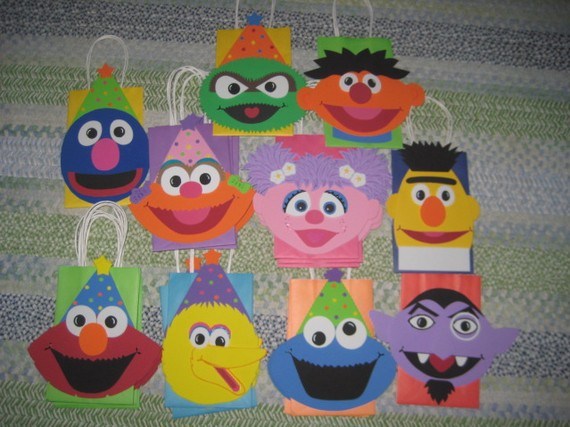 READY TO SHIP – Almost! – Sesame Street Inspired Party Bags by christinescritters