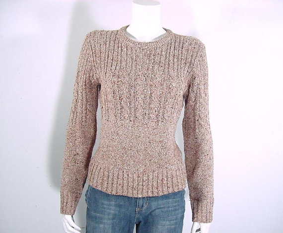Vintage Harvest Tweed Pullover Sweater Cable and Rib Knit – Small to Medium by BloomStreetVintage