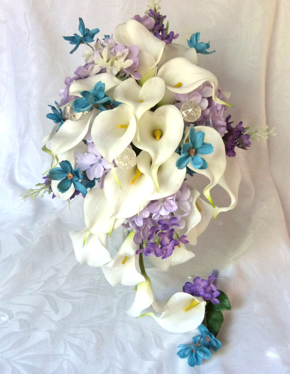 Calla lily wedding bouquet calla lily turquoise and lilac bridal bouquet calla lily bridal bouquet by ChurchMouseCreations