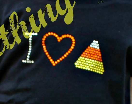 I Heart Candy Corn, Candy Corn, Halloween Candy, Halloween shirt, Rhinestone Iron On Heat Transfer – DIY by SomethingGlitzy
