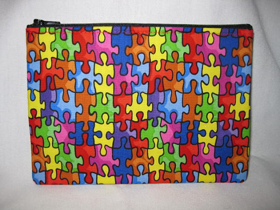 Zipper Pouch Autism Awareness Rainbow Colored Puzzle Pieces Handmade in Iowa by CindyKsBoutique