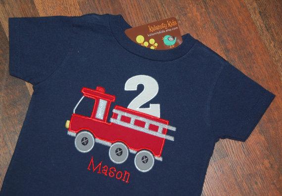 Fire Truck Birthday Shirt, Firetruck Birthday Shirt, Boys Birthday Shirt, Firetruck Birthday, Navy Blue by KalamityKids